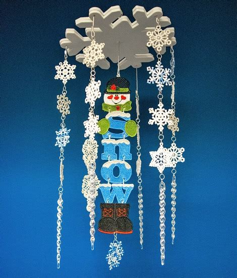 snowman wind chime embroidery project  marisa littleton