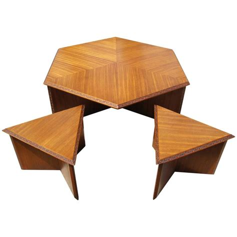 frank lloyd wright table hexagonal coffee table set by frank lloyd wright for