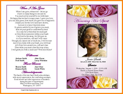 5 Free Obituary Program Template Love Language Love Literature Free Downloadable Obituary Program Templates