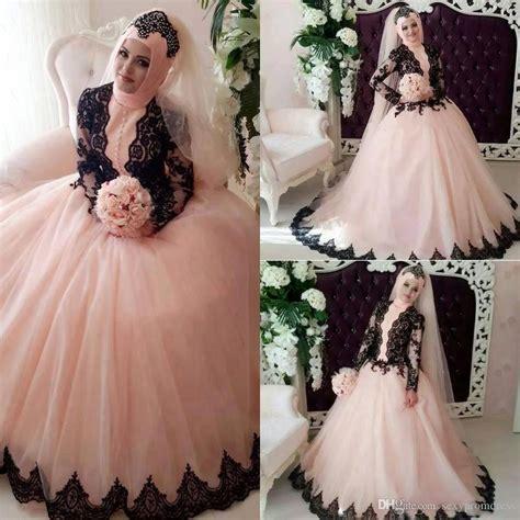 Muslim Pink muslim pink gown wedding dresses 2017 black lace