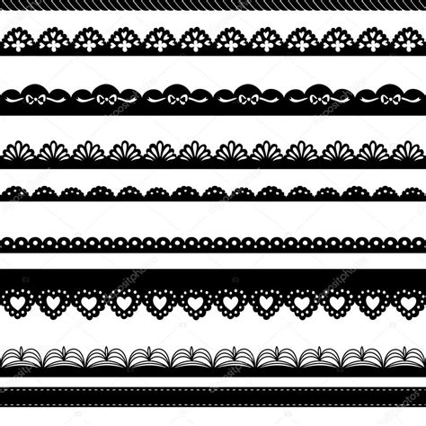 set of hand drawn lace paper punch borders stock vector