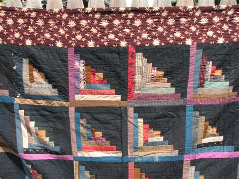 Log Cabin Patchwork History - antique log cabin patchwork quilt 74 quot by 85 quot stitched