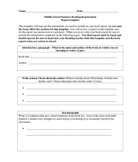 sle middle school book report templates 9 free