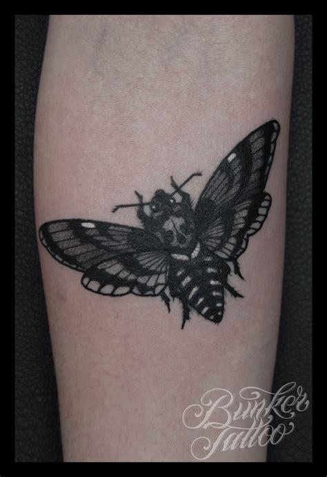grey ink tattoo bicep grey ink moth