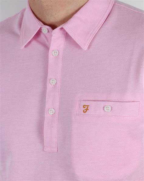 Nyc Pink Horizon Shirt farah vintage tennyson polo shirt horizon pink pique cotton mens classic