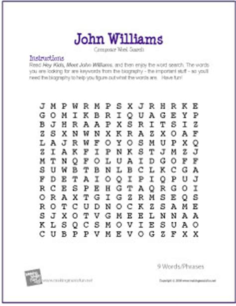 Williams Free Search Williams Free Composer Word Search Worksheet