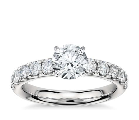 Pave Ring by Riviera Pav 233 Engagement Ring In Platinum 3 4 Ct
