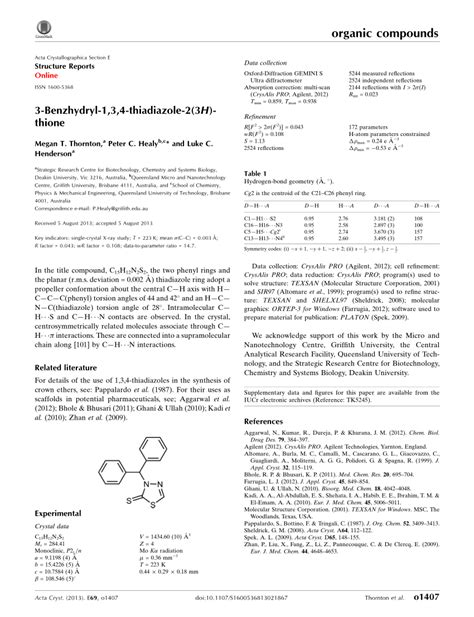 acta crystallographica section e 3 benzhydryl 1 3 4 thia 173 diazole 2 3h thione pdf download