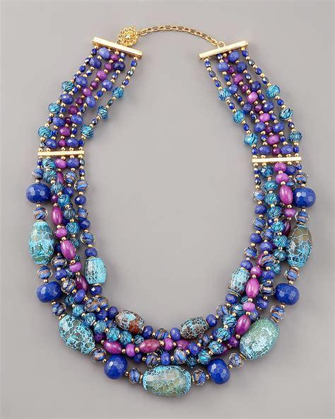 multi strand beaded necklace lyst jose barrera multi strand beaded necklace