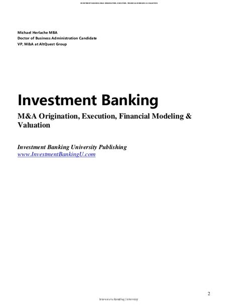 Mba Investment Banking Associate by Investment Banking Middle Market M A Origination