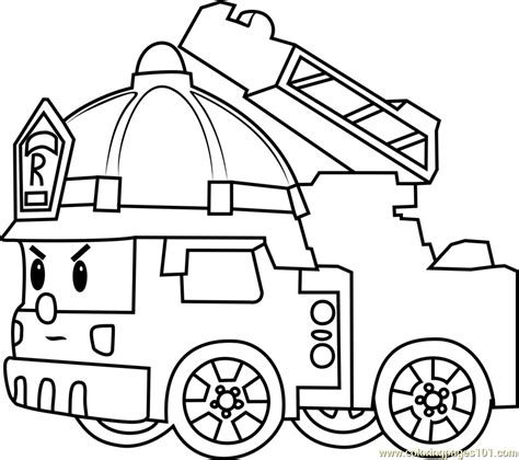 coloring page fire truck roy fire truck coloring page free robocar poli coloring