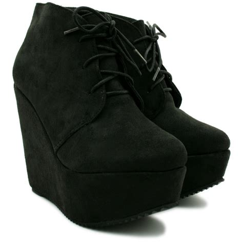 womens black suede style wedge platform boots from