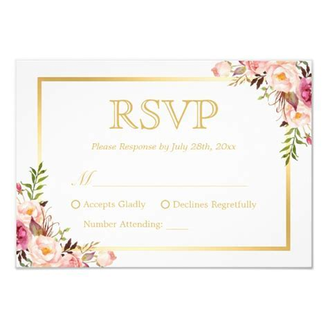 Elegant Chic Gold Pink Floral Wedding RSVP Reply Card