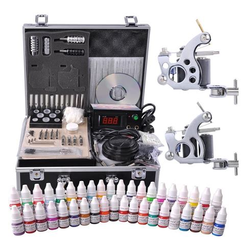 tattoo suplies pro complete kit 40 color ink 2 machine guns 50