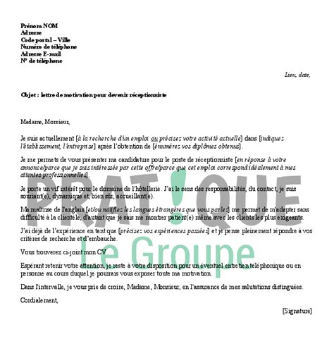 Modã Le Lettre De Motivation Visa Sã Jour Lettre De Motivation Pour Emploi Receptionniste Application Cover Letter