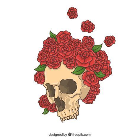 imagenes de calaveras rojas calavera dibujada a mano con rosas rojas descargar
