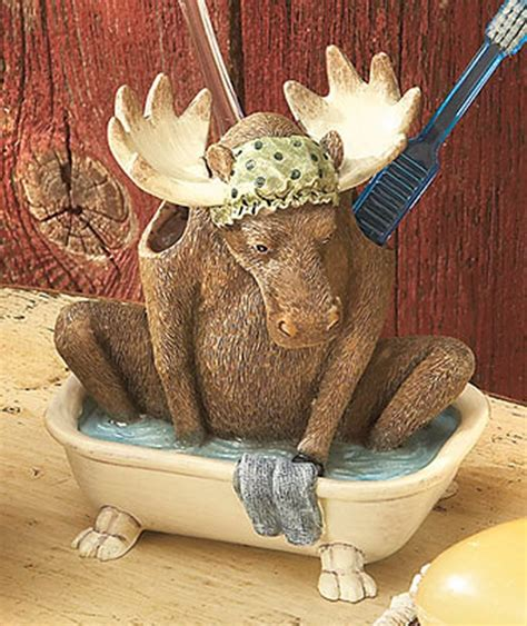 bear decor for bathroom laugh bear moose tooth brush holder lodge cabin country