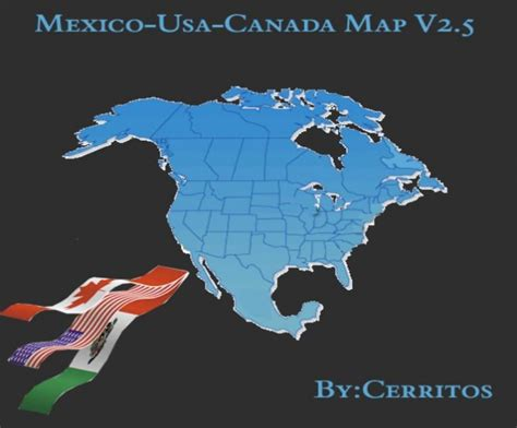map mex usa canada haulin mex usa canada map v2 5 for 18 wheels of steel haulin