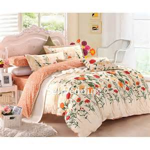 Discount Duvet Sets White And Orange Floral Patterned Cute Unique Cheap Bed In