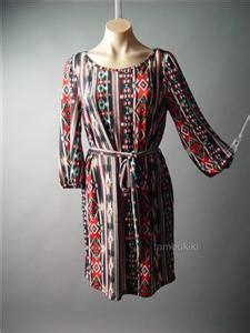 Mini Dress Baju Terusan Import Original Tribal Pattern L vtg y 70s southwest tribal print sash belt work career shift 101 mv dress m l ebay