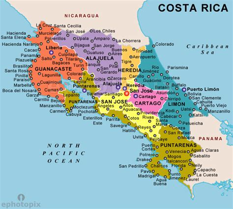 pinpoint cities world map costa rica political map political map of costa rica