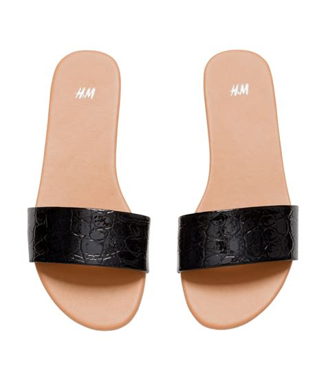 m and s shoes h m slip on sandals in black lyst