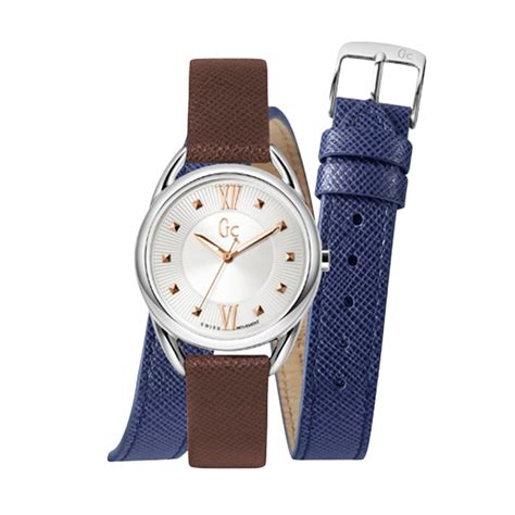 New Jam Tangan Gc Wanita Crono Dan Tanggal On Leater Putih jual guess collection gc twist y13001l1 leather jam tangan wanita brown silver harga