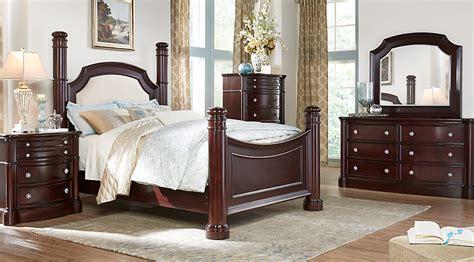 dumont cherry  pc queen  poster bedroom bedroom sets dark wood