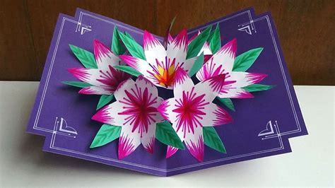 flower pop up card template color a 3d flower pop up card easy and simple steps