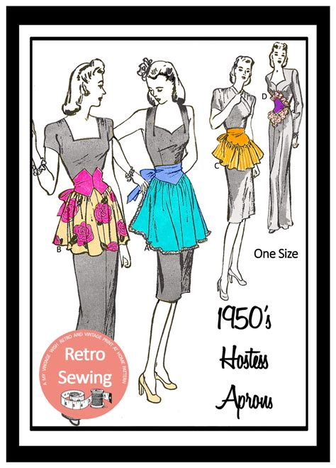 Pattern Paper For Sewing - 1950s hostess apron sewing pattern paper pattern