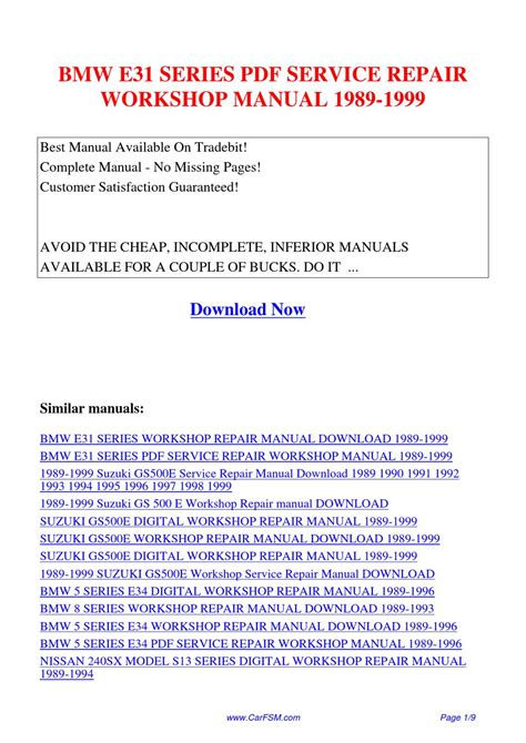 download car manuals pdf free 1992 bmw 8 series parking system bmw e31 series service repair workshop manual 1989 1999 by hui zhang issuu
