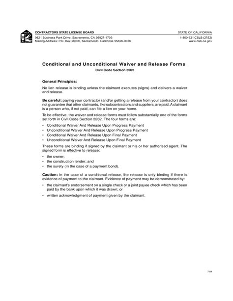 Conditional And Unconditional Waiver And Release Forms Free Download Conditional Lien Waiver Template