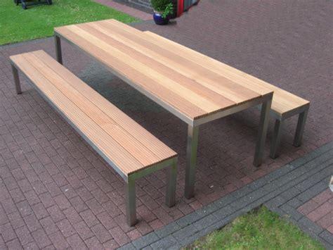 Bauanleitung Gartenbank Mit Tisch 6022 by Gartenbank Aus Edelstahl Und Bankirai Holz Glasprofi24