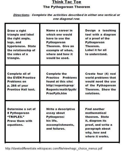 tic tac toe menu template strategies literacy with adolescents electronic