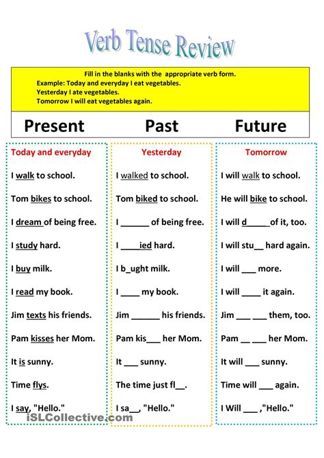 make the patterns of simple present tense revision of verb tenses present past and future