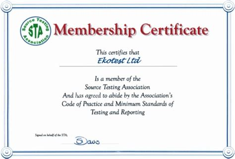 membership certificate template word membership