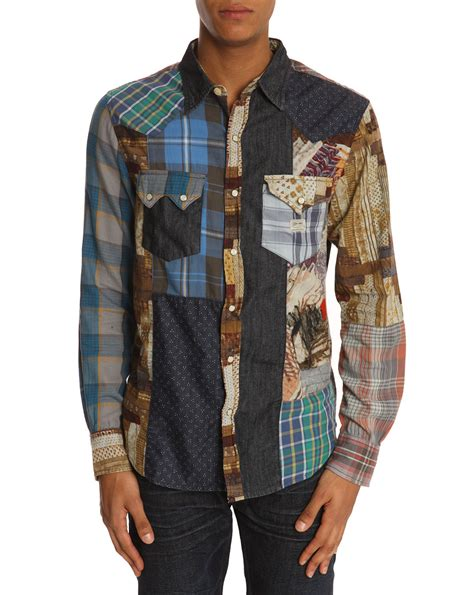 Patchwork Shirt - denim supply ralph ward patchwork shirt in blue