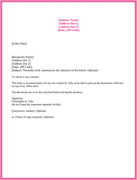 authorization letter for bank document collection 10 best authorization letter sles and formats