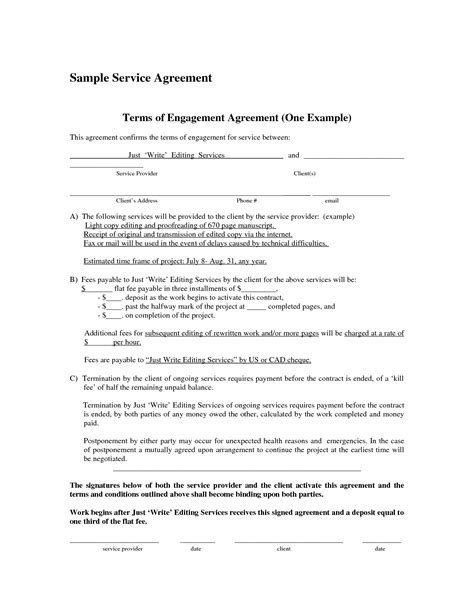 agreement of services template doc 7681024 simple contract for services template free