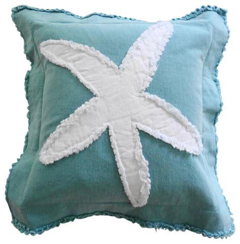 coastal starfish throw pillow white on caribbean blue