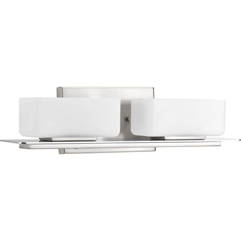 Bathroom Lighting Collections Progress Lighting Gather Collection 2 Light Brushed Nickel Fluorescent Vanity Light With Etched