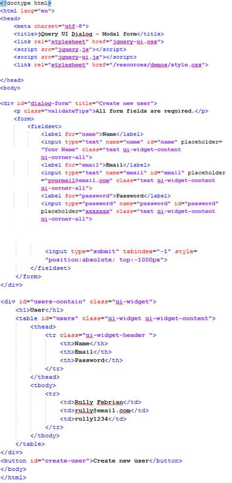 membuat form dengan script html membuat form modal dengan jquery ui