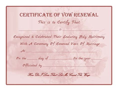 vow renewal certificate template free printable vow renewal certificate all things