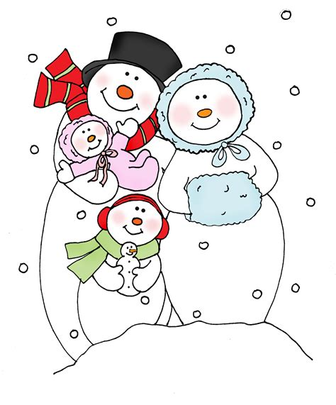 coloring page snowman family free dearie dolls digi sts snowman family