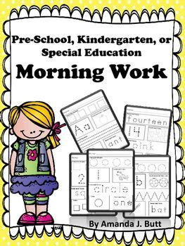 Request Letter For Morning Kindergarten Kindergarten Special Education Morning Work And Special Education On