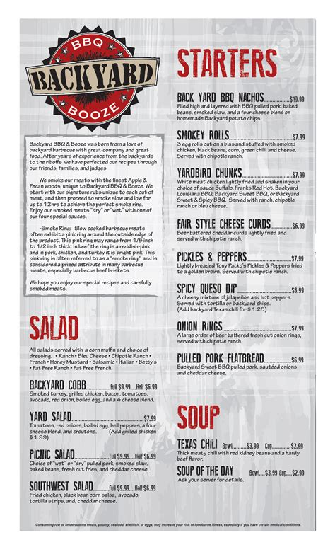Backyard Menu by Menu Backyard Bbq Booze