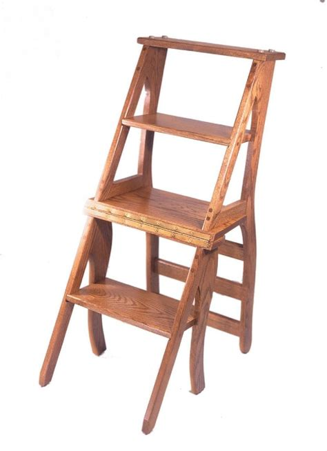 Library Step Stool Plans by Amish Library Step Stool Chair Combo Woodworking