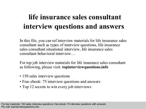 insurance sales consultant questions and answers