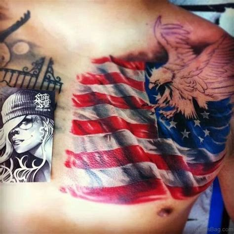 chest tattoo american flag 57 classic flag tattoos on chest