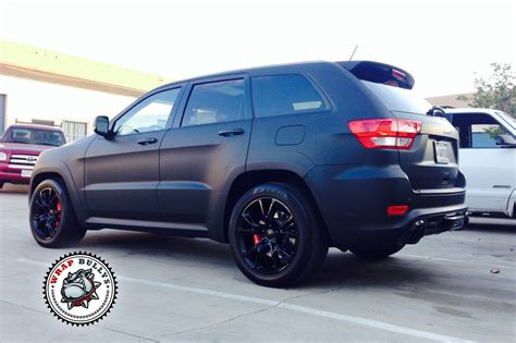 jeep matte black jeep srt8 wrapped in 3m deep matte black vehicle wrap